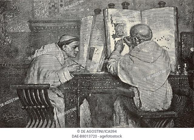 Friar miniaturists, engraving from a painting by Anselmo Gianfanti, National Exposition in Turin, Italy, from L'Illustrazione Italiana, No 34, August 24, 1884