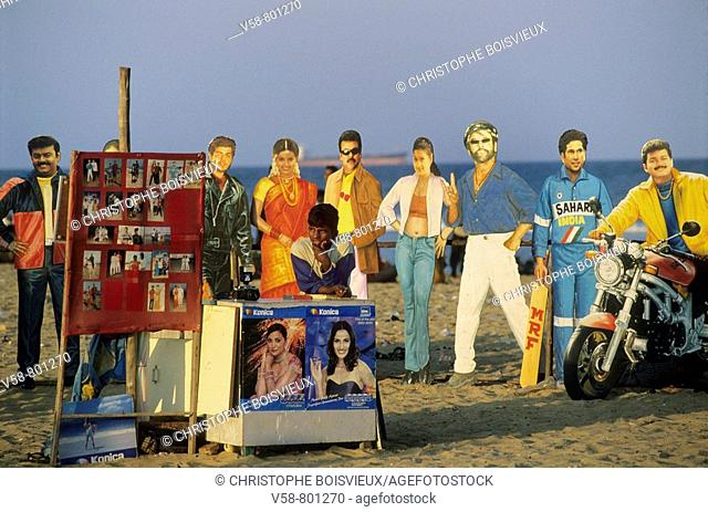 OPEN AIR PHOTO STUDIO WITH PORTRAITS OF BOLLYWOOD AND CRICKET STARS, MARINA BEACH, CHENNAI MADRAS, TAMIL NADU, INDIA