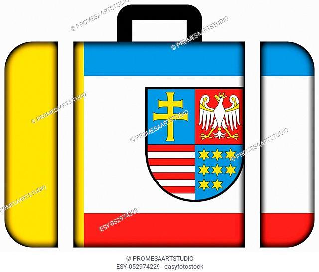 Flag of Swietokrzyskie Voivodeship, Poland. Suitcase icon, travel and transportation concept