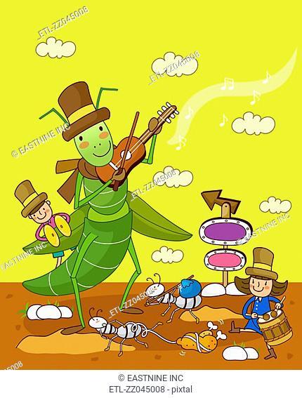 Three children playing musical instruments