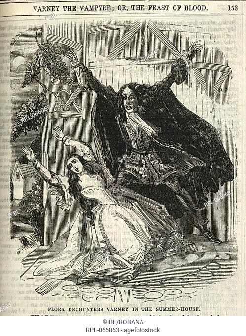 Flora and Varney, 'Flora encounters Varney in the summer-house'. The vampire looms over the heroine. Image taken from Varney the Vampyre, or, the Feast of blood