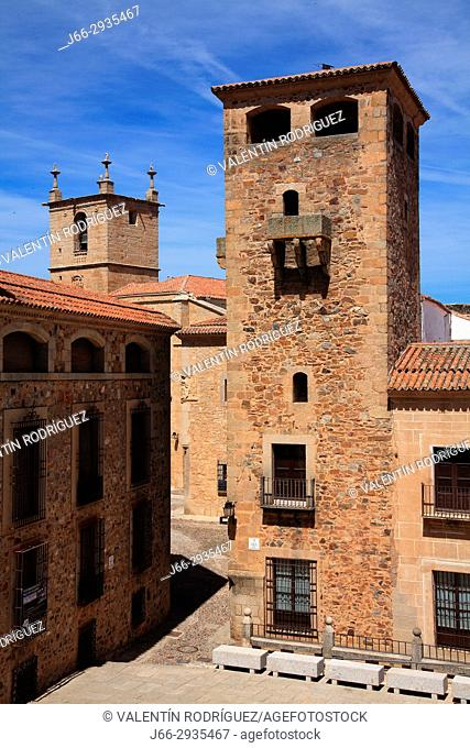 Tower of the Golfines de Abajo in the square San Jorge. Cáceres