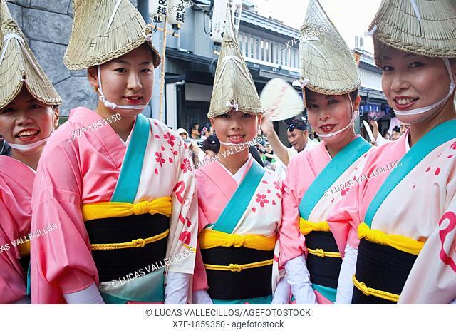 Asakusa Okuyama matsuri, Awaodori festival August Traditional dance Parade next to Senso-ji Temple Tokyo city, Japan, Asia