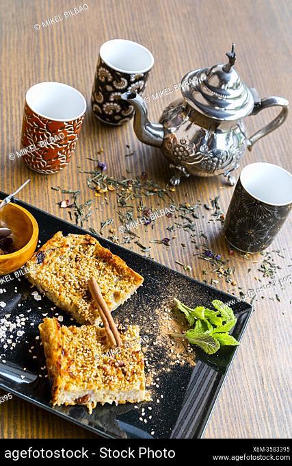 Ohsawa bread. Macrobiotic diet, with sesame, apple, oats, cinnamon and raisins