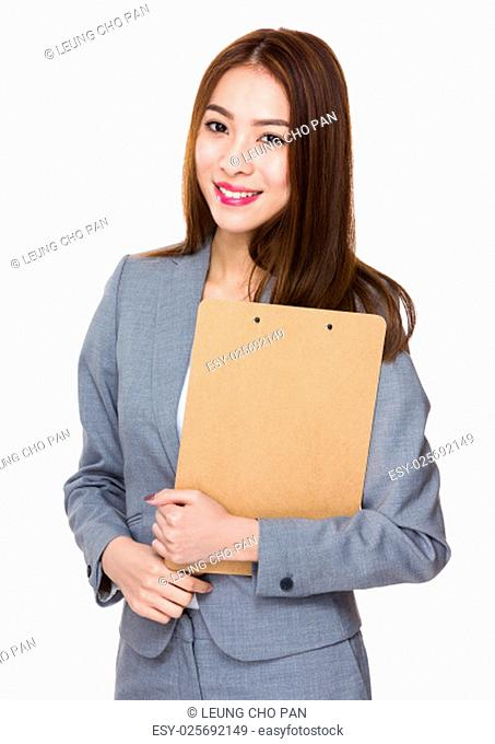 Asian businesswoman holding with folder