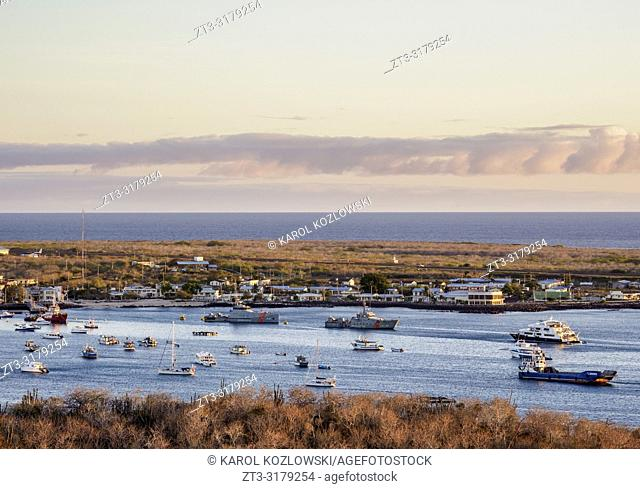 Puerto Baquerizo Moreno, elevated view from Cerro Tijeretas, sunset, San Cristobal or Chatham Island, Galapagos, Ecuador