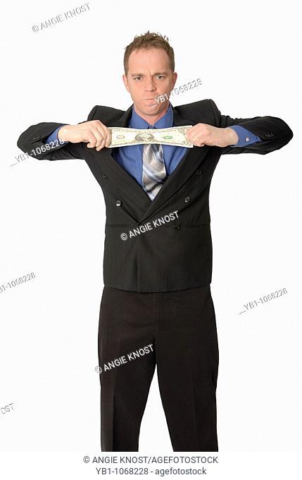 Man stretching a dollar