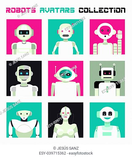Varied collection of robots faces and heads for used as characters avatars. Imaginative and friendly colourful collection of happy andorids to give a fresh and...