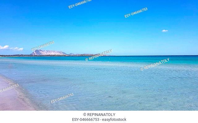 Sunny day at the beash coast of Sardinia, San Teodoro, Italy