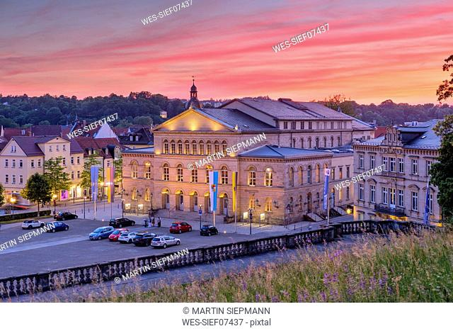 Germany, Bavaria, Coburg, State Theatre in the evening