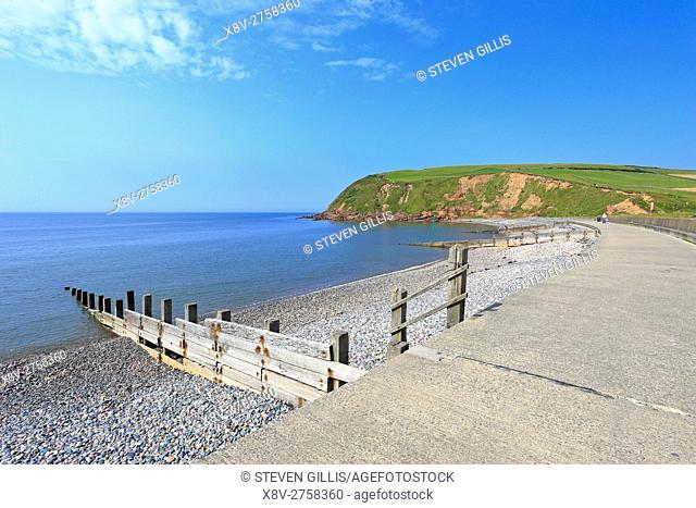 Seacote beach promenade and South Head, start of the Coast to Coast Walk, St Bees, Cumbria, England, UK