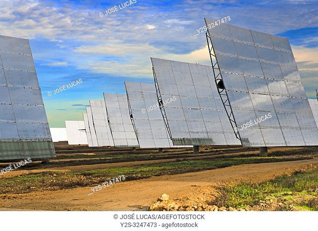 Solar power plant, Sanlucar la Mayor, Seville province, Region of Andalusia, Spain, Europe