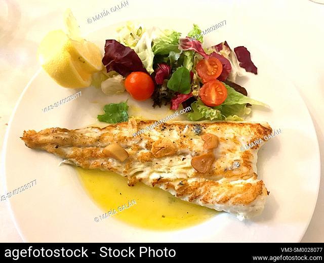 Hake fillet with garlic and salad