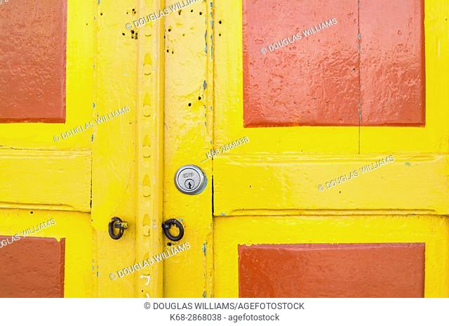 A colourful door to a shop in Salento, Colombia