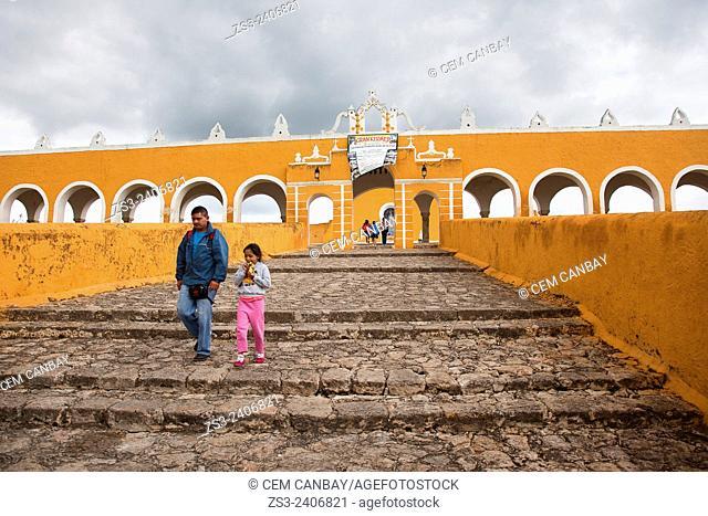 People at the stairs of the Monastery, Convent Of San Antonio De Padua, Izamal, Yucatan, Yucatan Province, Mexico, Central America
