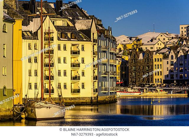 Alesund, Norway. The town is famous for its art nouveau (Jugendstil) architecture. The town was rebuilt after a fire in 1904