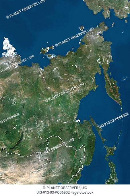 Satellite view of Russia Far Eastern (with country boundaries). This image was compiled from data acquired by Landsat satellites