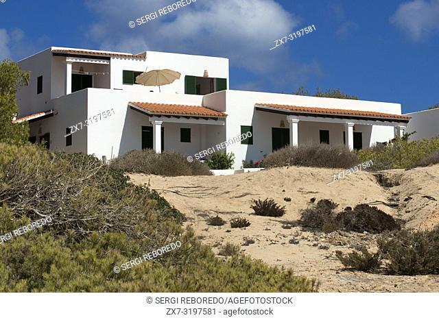 Typical white house of Formentera. Migjorn beach, Formentera island, Balears Islands, Spain