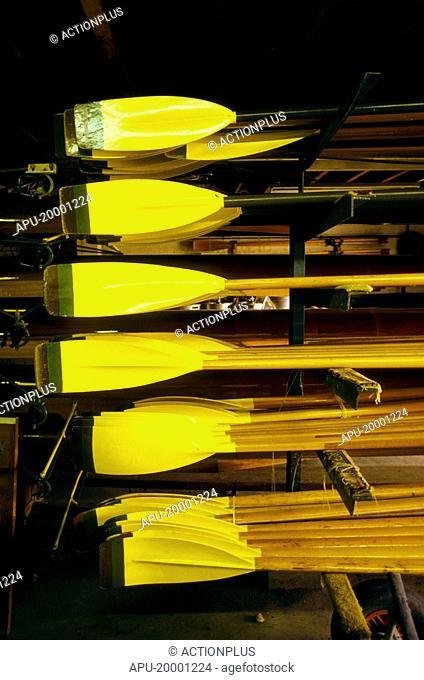 Racks of oars in a boat house