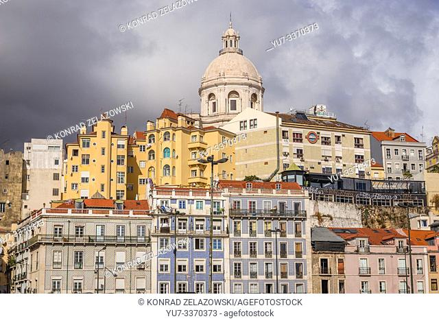 View on tenement houses in Lisbon, Portugal with dome of National Pantheon