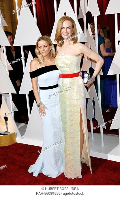 Actress Reese Witherspoon (L) and Nicole Kidman attend the 87th Academy Awards, Oscars, at Dolby Theatre in Los Angeles, USA, on 22 February 2015