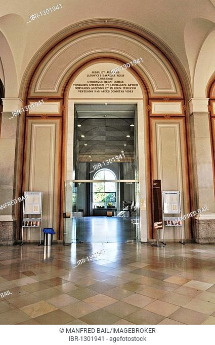 Bavarian State Library, first floor, entrance to the reading room, Munich, Bavaria, Germany, Europe