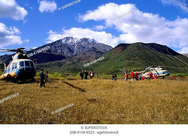 Russia, Kamchatka, Avachinska Lake, Helicopter With Tourists