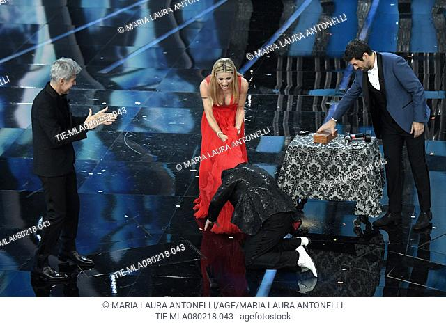Claudio Baglioni, Michelle Hunziker, Mago Forest, Pierfrancesco Favino at the 68th Sanremo Music Festival, Sanremo, ITALY-07-02-2018