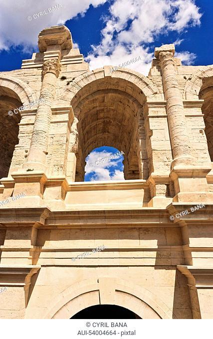 France, Arles, Roman amphitheatre, arcades, columns