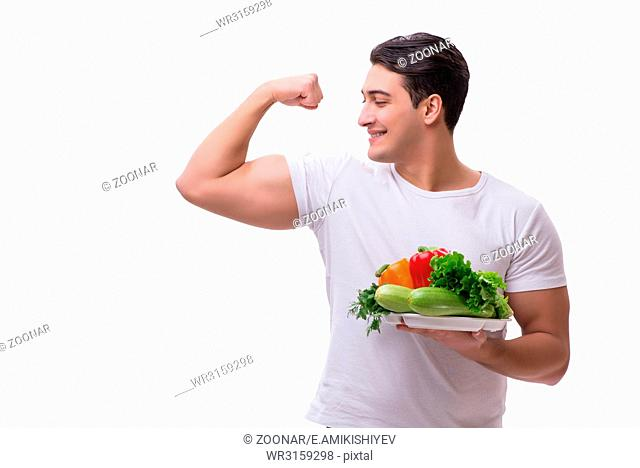 Man in healthy eating concept