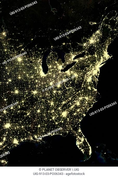 US East Coast at night in 2012, from Boston, Massachusetts down to Houston, Texas. This satellite image shows urban and industrial lights