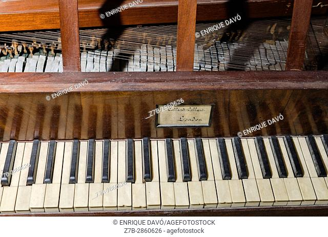 An old piano view in a house of Carboneras village, Almería province, Spain