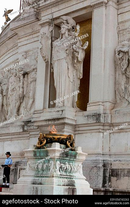 Rome - National Monument to Victor Emmanuel II. Tomb of the Unknown Soldier, under the statue of goddess Roma, with the eternal flame