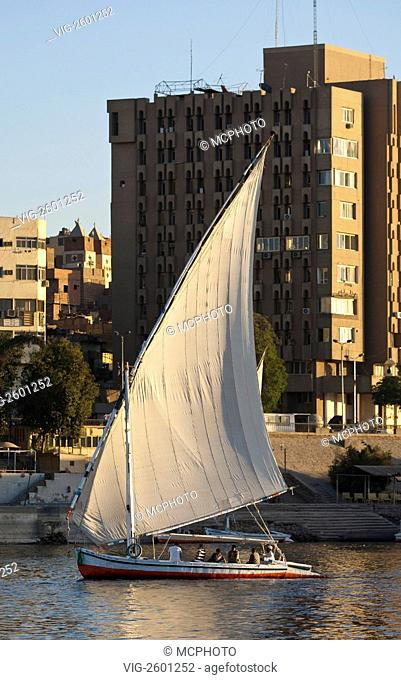 Egypt, Aswan. Felucca sailing on the Nile near Aswan. - 01/01/2011