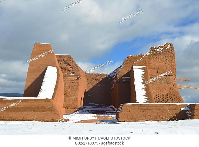 ruins of adobe Franciscan mission church (1620s) at Pecos pueblo, New Mexico