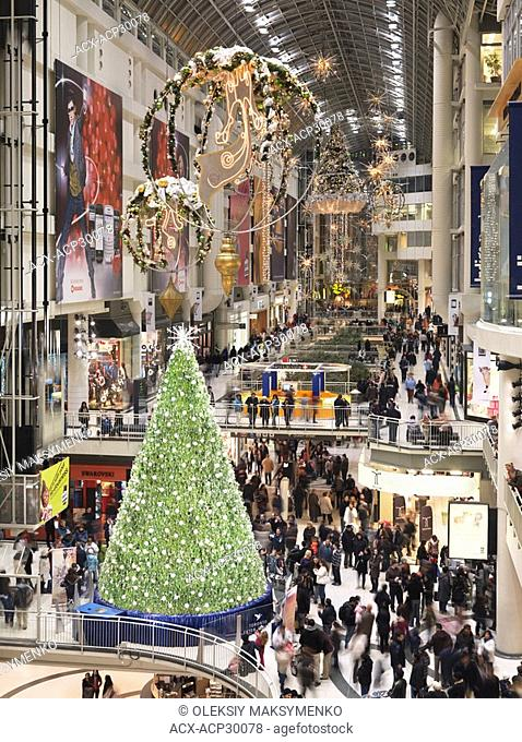 Swarovski Christmas Tree at Toronto Eaton Centre during Christmas season. Toronto, Ontario, Canada