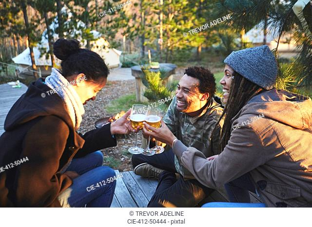 Happy friends toasting wine glasses at campsite in woods