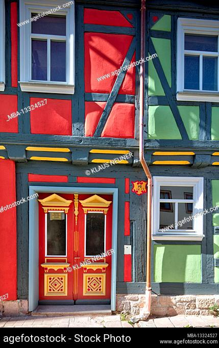 Half-timbered house, renovated, renewed, front door, window, house facade, half-timbered, Schmalkalden, Thuringia, Germany