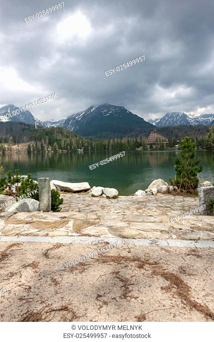 Stary Smokovec houses and lake in mountains in Slovakia