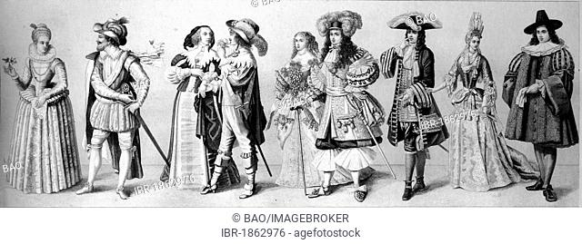 Cultural history, from left: two Dutch costumes from 1610, French fashion in 1670, Louis XIV and his wife in 1670, dandy and lady around 1690