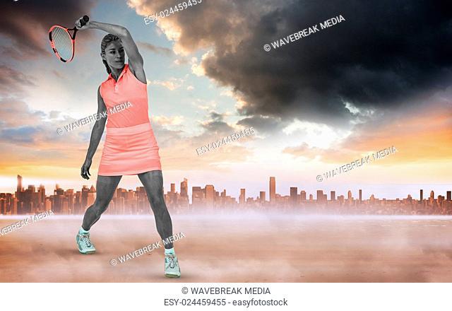 Woman athlete playing tennis