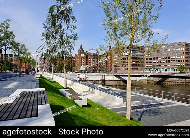 Parks and green areas, Osakaallee, šberseequartier, HafenCity, Hamburg, Germany, Europe