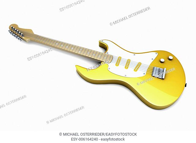 A classical electric guitar. 3D illustration