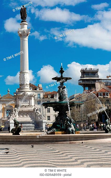 Fountain in Rossio Square, Lisbon, Portugal