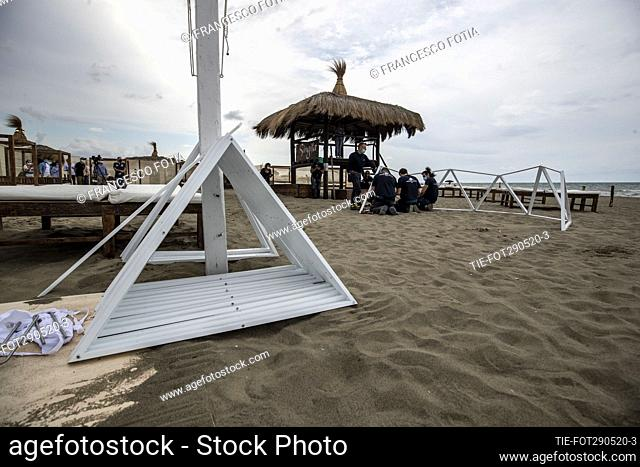 Installation of a dome on the beach, for social distancing, in view of the reopening of the bathing resort in Fregene baech , Rome, ITALY-29-05-2020
