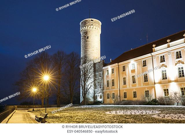 Tallinn, Estonia. Evening Night View Of Upper Town Castle Corner Tower Tall Hermann Or Pikk Hermann