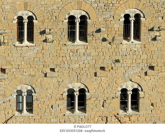 Volterra, Italian medieval town - view of the city centre - Palazzo della Prefettura facade