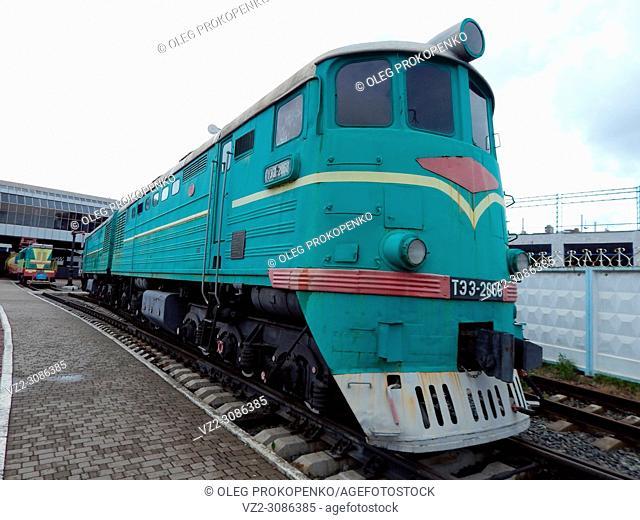 Railway locomotive, wagons in the train