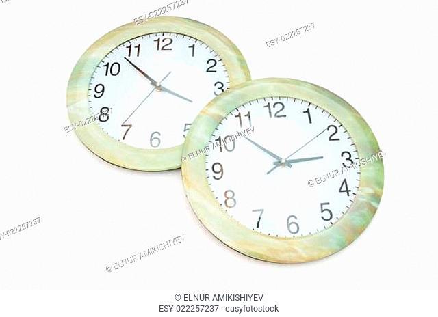 Round clocks isolated on the white background