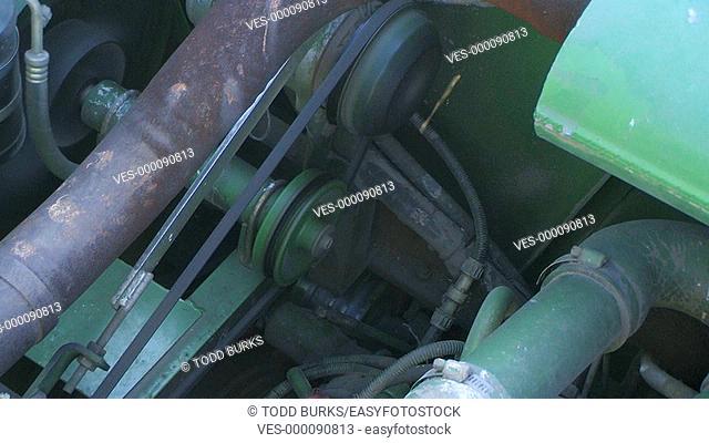 Diesel combine engine running